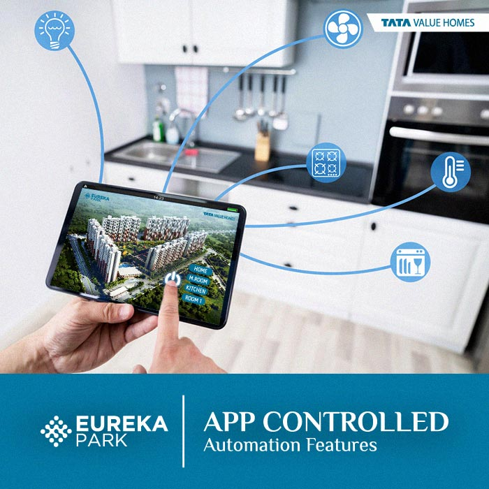 What are the App-controlled Automation Features in Tata Eureka Park?